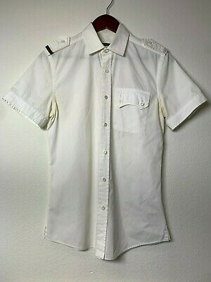 43c45f71 Gucci Mens White Short Sleeve Button-Up Shirt, GRG Web and Pockets, Sz