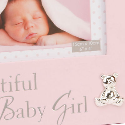 New Baby 6'x4' Photo Frame with Silver Teddy Attachment - Beautiful baby Girl