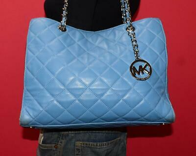 615298b7dd80 MICHAEL KORS SUSANNAH Lrg Blue Quilted Leather Shoulder Shopper Tote Purse  Bag