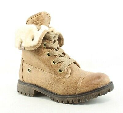 d98f94c2e95b29 ROXY SURF Womens Lace-Up Frontier Combat Tan Round Toe Mountain Wave ...