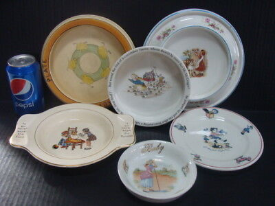 Antique Lot 6 Baby Juvenile Dish Roseville Pottery Porcelain Germany Wedgwood
