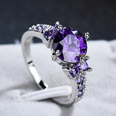 White Gold Round Cut Purple Amethyst Gem Wedding Band Ring Gift Size 6-10