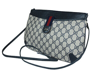 96a36c9f17291c Auth GUCCI GG Pattern PVC Canvas Leather Navy Blue Crossbody Shoulder Bag  GS2088