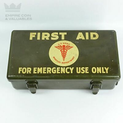 Vintage Military WWII U.S. Army Medical Department First Aid Kit Field Kit Box
