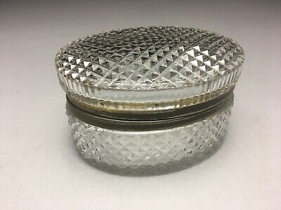 Stunning French Cut Crystal Bronze Mounted Oval Dresser Box Casket