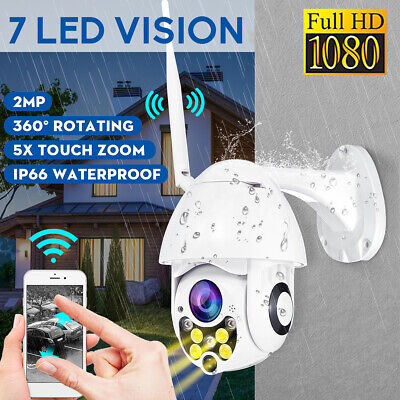 Outdoor Waterproof PTZ Pan Tilt 1080P HD Security IP IR Camera WiFi Night Vision