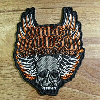 Rare Harley Davidson Skull  Embroidered applique iron on Patch #40