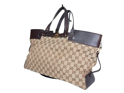 c7e0092f1 GUCCI BEIGE BROWN Crystal Coated Canvas Large Tote Travel Bag w ...