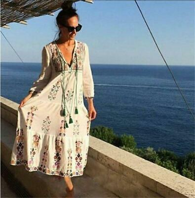 Women Mexican Floral Embroidered Deep V neck BOHO Ethnic Maxi DRESS Hot