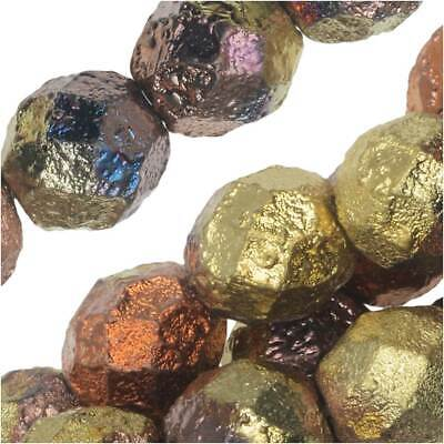 Czech Fire Polished Glass Beads, Round 8mm, 20 Pcs, Etched California Gold Rush