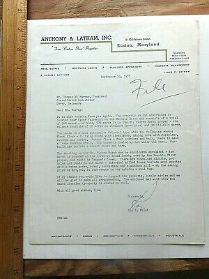 1957 Illustrated Letterhead- Easton, MD Real Estate Co. re: Property For Sale