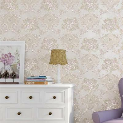 10M Vintage Luxury Damask Embossed Flocked Textured Non-Woven Wallpaper Roll FG