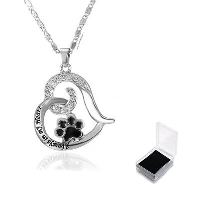 Footprint Pendant Necklace Dog Paw Crystal Jewelry Box Always In My Heart FG