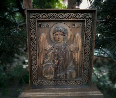 Guardian Angel Icon 3D Orthodox Wood Carved. Your Guardian Angel.