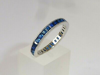 Ladies Art Deco Style 925 Sterling Solid Silver Blue Sapphire Full Eternity Ring