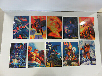 Set of 10 MARVEL MASTERPRINTS 10x7 (1994) - Captain America Gambit Silver Surfer