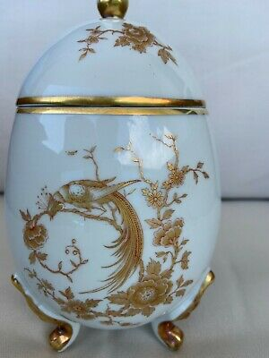 Antique porcelain French Limoges egg shape box gilded ornaments Bird