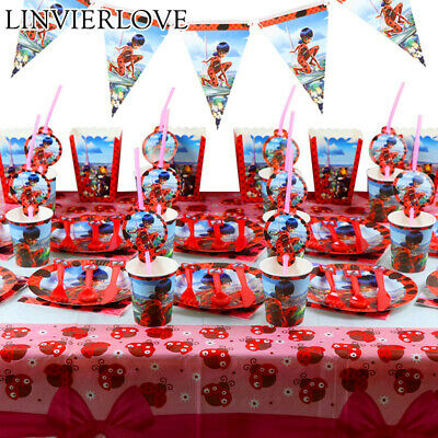 Ladybug-Party-Decor-Supplies--Banner-Birthday-Tableware-Sets-Plate Napkins-Candy