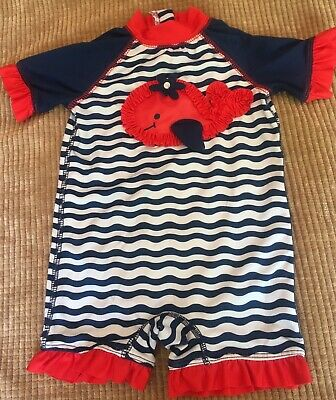 62fa30769 Wippette Baby Girl One-Piece Swim Suit 0-6 Months Whale And Waves Design