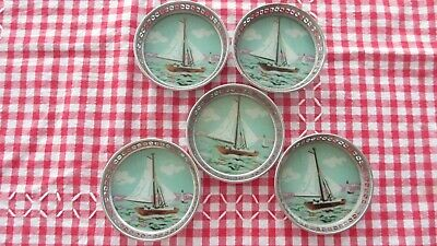 Vintage Set of 5 Hand Painted Boats Glass Coasters set in Silver Metal Mounts