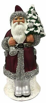 Ino Schaller Purple Santa with Silver Bell German Paper Mache Candy Container