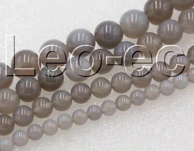 "natural Gemstone 12mm Round gray agate Loose Beads Strand 15"" V1203-1"