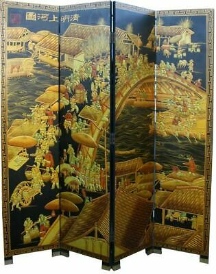 Chinese Folding Screen Upper River During Qing Ming Festival Ex-Demo (#PICKUP)
