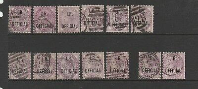 GB QV officials, 1d IR Official 12 Copies Used, 1 Unused NO Gum, SG O3, full per