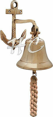 Nautical Solid Brass Wall Hanging Ship Bell~Brass Anchor Door Bell Home Decor