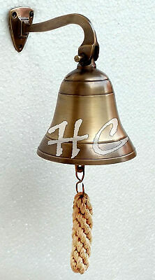 ANTIQUE ~Brass Solid Brass Wall Hanging Ship Bell VINTAGE Door Bell Home Decor