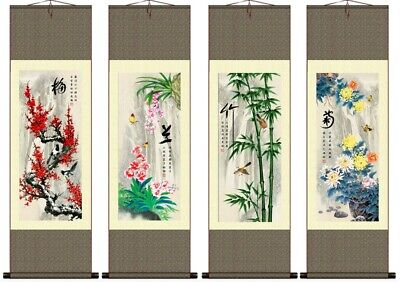 Chinese Silk Scrolls 4 Seasons Plants  Wall Hanging Prints Large