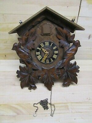 vintage Antique Black Forest Cuckoo Clock Hand Carved Birds Repair/ Parts, BL5