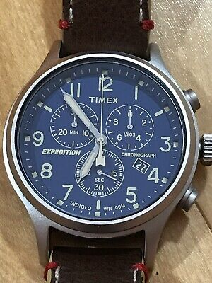 77c04055bd4e Timex Men s Expedition Scout Chrono Chronograph Blue Dial Brown Leather  Strap