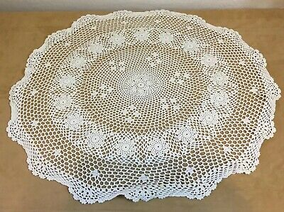Vintage Round Small Tablecloth, Crocheted, Flower Design, Very Light Beige