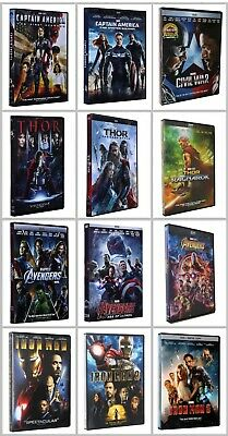 12 Marvel Movies Lot DVD Collection Captain America & Thor & Avengers & Iron Man