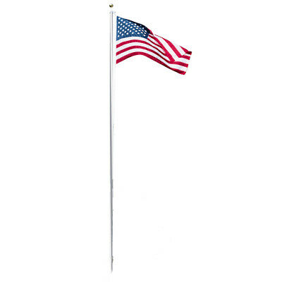 20 Ft Tall Pole Independence USA Flag 5-ft x 3-ft  American Embroidered Flag Set