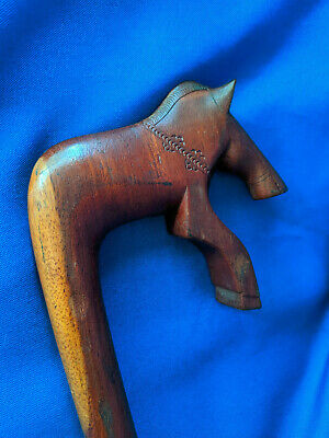 Antique Carved Wood Horse Cane Walking Stick VTG Art Deco Rare 37""