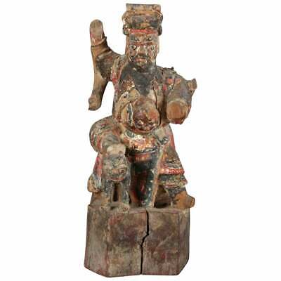 Antique Chinese Polychrome Carved Wood Warrior Portrait Sculpture, 18th Century