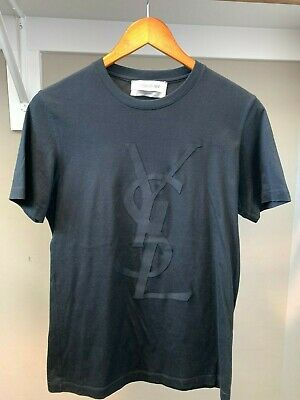 f5109cefb Authentic YSL LOGO Yves Saint Laurent Mens Black Short Sleeve T-Shirt, XS