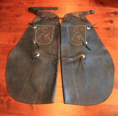 Antique 19th Century Batwing Cowboy Chaps with Conchos & Studded Initials