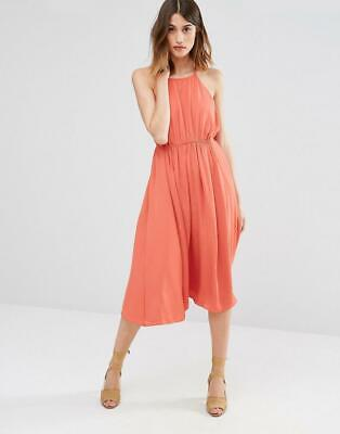 New Warehouse Coral Empire Channel Midi Dress Day Summer Party Event Wedding 16