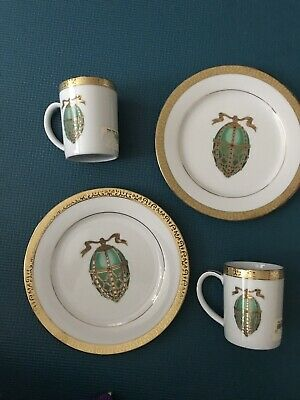 Royal Gallery Gold Buffet Egg Salad Plate Mug Green Faberge Egg NEW Set Of 2