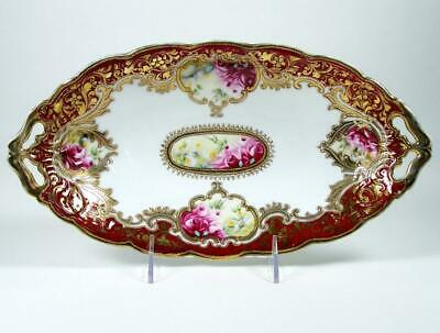 Antique Noritake Porcelain Bowl Celery Dish Hand Painted Roses Heavy Gold 1906