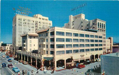 Autos Bank Hotel Adams Valley National 1950s Postcard Phoenix Arizona 5083