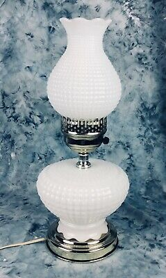 "Vtg Milk Glass Hobnail Electric Hurricane Lamp 15 1/2"" High, Excellent Condition"