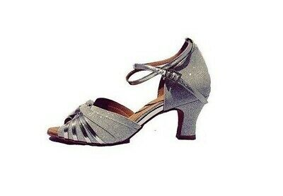 "My JuJu - S7381 - Women's Silver Glitter 1.5"" spanish heel Dance Shoes EU39"