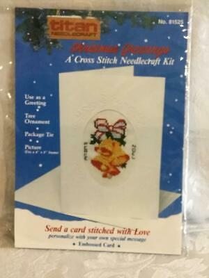 Cross Stitch Christmas Bells Card By Titan Needle Craft With Embossed Card New
