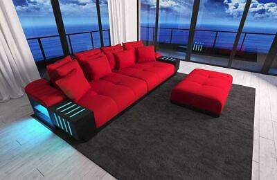 Big Sofa Polster Couch BELLAGIO Designercouch Stoffsofa Strukturstoff rot LED