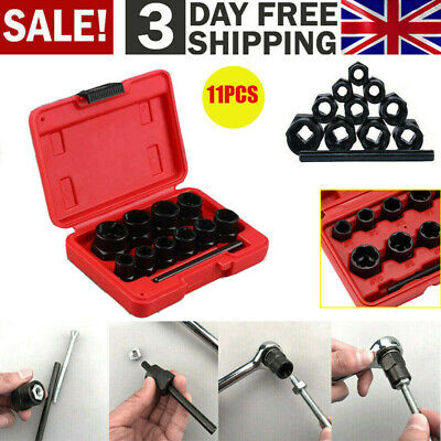 11pc Locking Wheel Nut Removers Nut Bolt Stud Extractor Twist Socket Tool Set UK