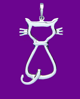 "Sterling Silver Cat Pendant 925 Hallmark Pet Jewellery 14-30"" Chain"